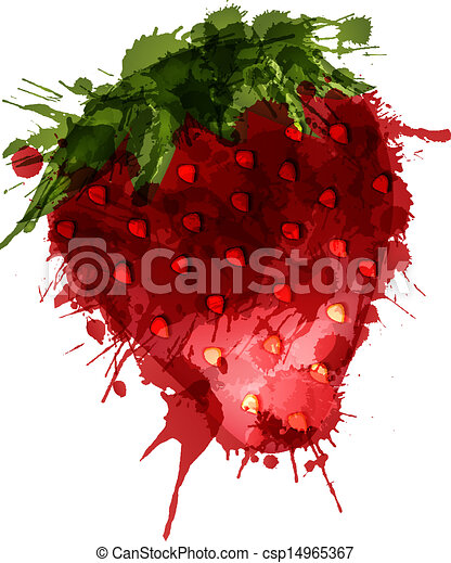 Strawberry made of colorful splashes on white background  - csp14965367