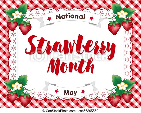Strawberry Month, Lace Doily Place Mat, Red Gingham - csp56365560
