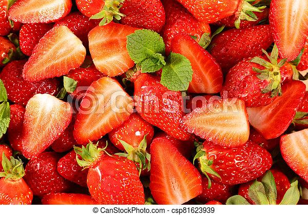 strawberry-, oberseite, erdbeer, frisch, auf, ansicht, schließen - csp81623939
