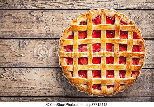 Strawberry pie cake pastry sweet traditional food - csp37712448