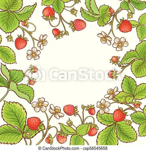 Strawberry plant vector frame on white background.
