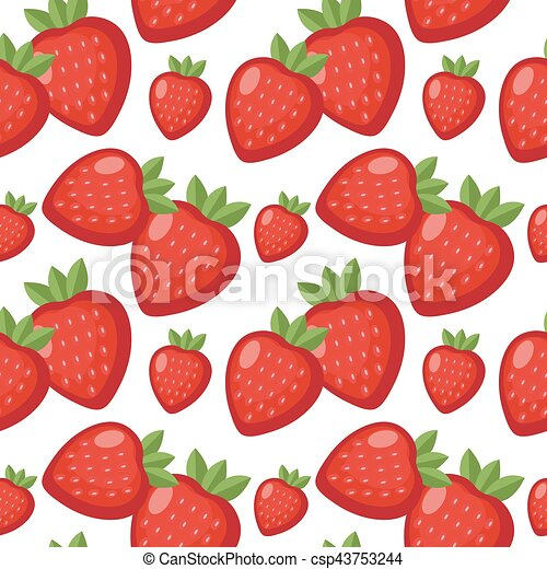 Strawberry seamless pattern. Berry endless background, texture. Fruits . Vector illustration - csp43753244