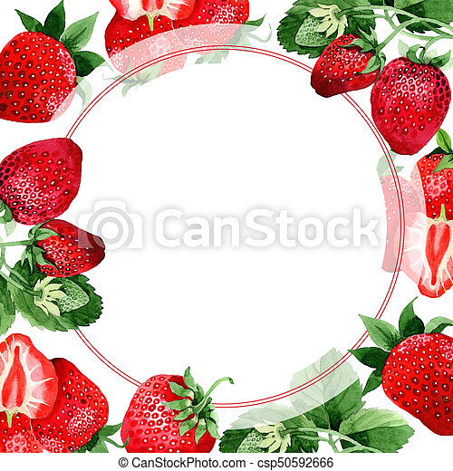 Strawberry wild fruit frame in a watercolor style. Strawberry ...