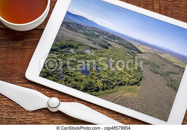 stream at North Park, Colorado - aerial view - csp48579954
