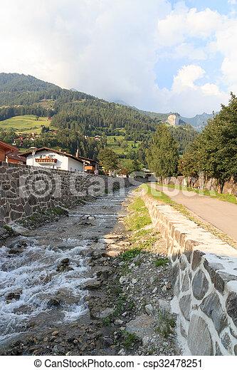 Stream Bretterwandbach in Matrei in Osttirol, Austria - csp32478251