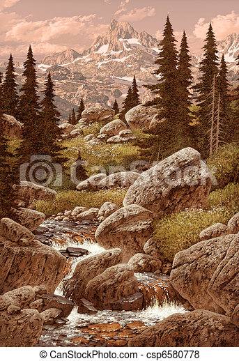 Stream In The Rocky Mountains - csp6580778