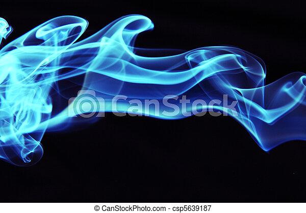 Stream of a blue smoke on a black background - csp5639187