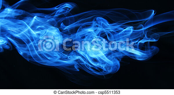 Stream of a blue smoke on a black background - csp5511353