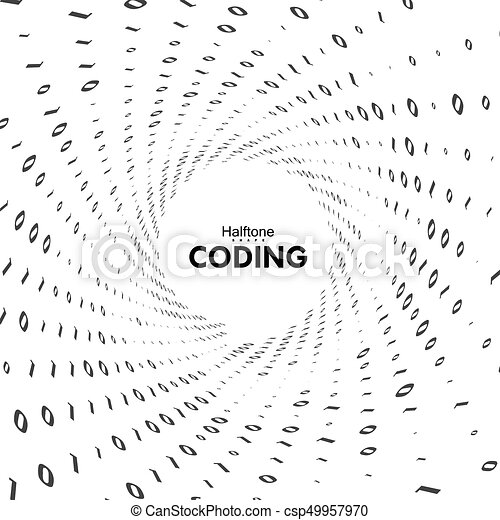 Streaming Binary Code 3d Vector Shape Virtual Tunnel Warp Coding
