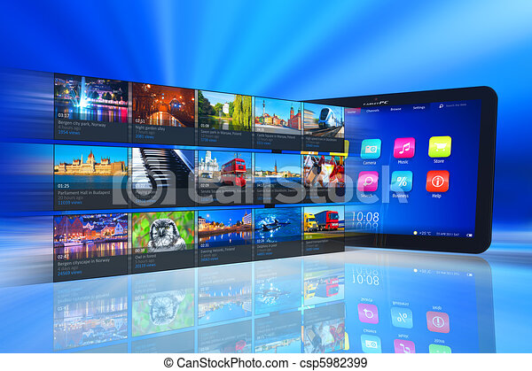 Streaming media on tablet PC - csp5982399
