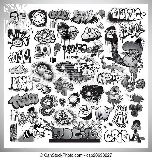 street art graffiti elements - csp20638227