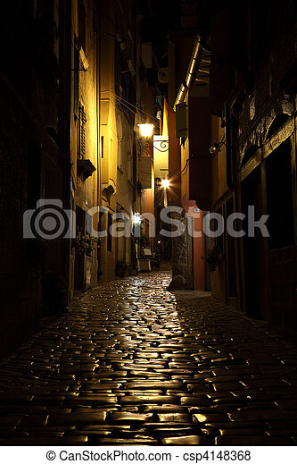 Street at night in the old town of Rovinj, Croatia - csp4148368