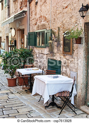 Street cafe in old town Rovinj - csp7613928