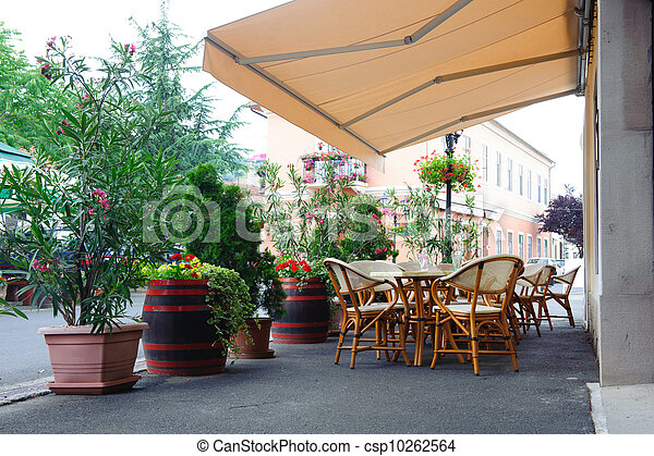 Street cafe under canopy - csp10262564