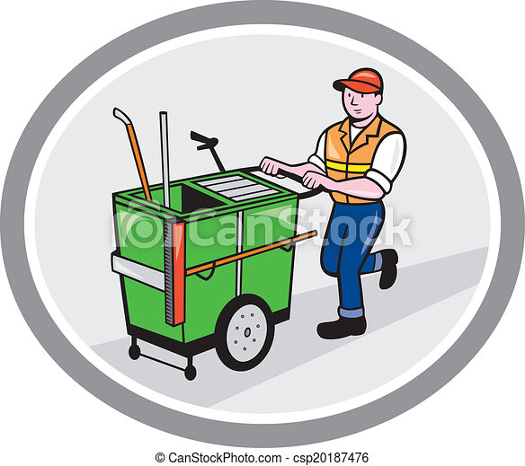 street cleaner pushing trolley oval cartoon illustration of rh canstockphoto ca trolley clipart free trolley clipart free