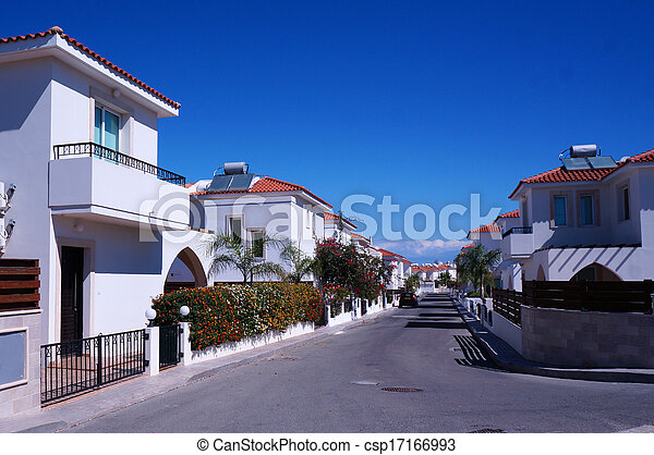 Street cottages in the small seaside town of Cyprus - csp17166993