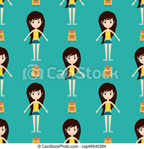Street fashion girls models wear seamless pattern style fashionable stylish woman characters clothes looks vector illustration - csp49540384