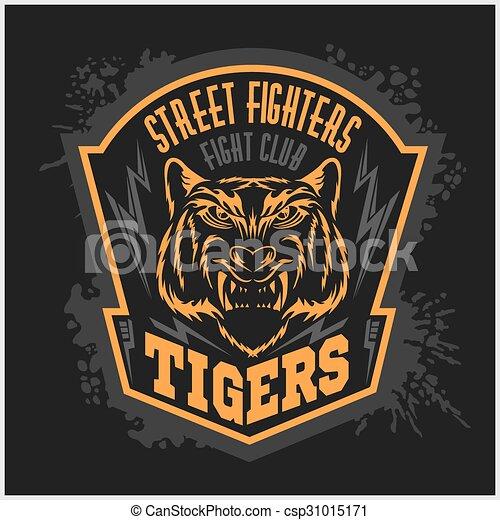 Street fighters - Fighting club emblem on dark background. - csp31015171