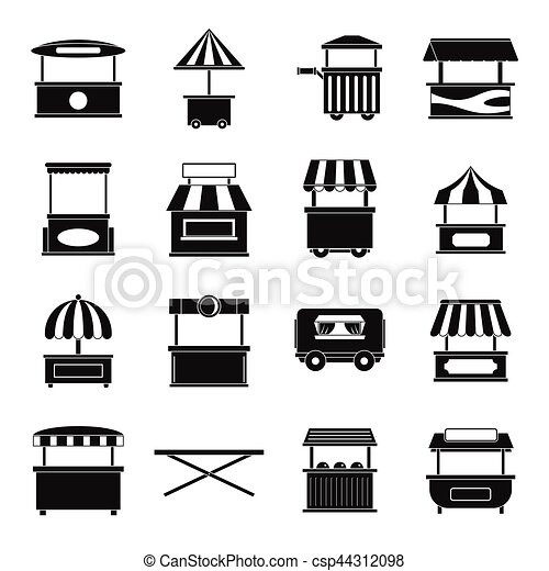 street food truck icons set simple style street food truck icons