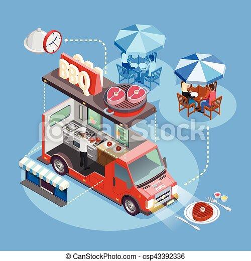 Street Food Trucks Service Isometric Poster - csp43392336
