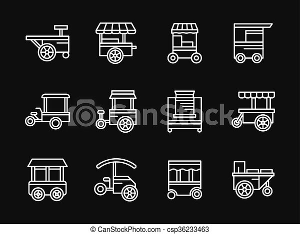 Line Design Clipart Free : Street food white simple line design vector icons clip