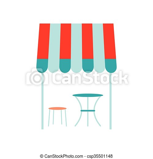 Street french cafe icon, flat style - csp35501148
