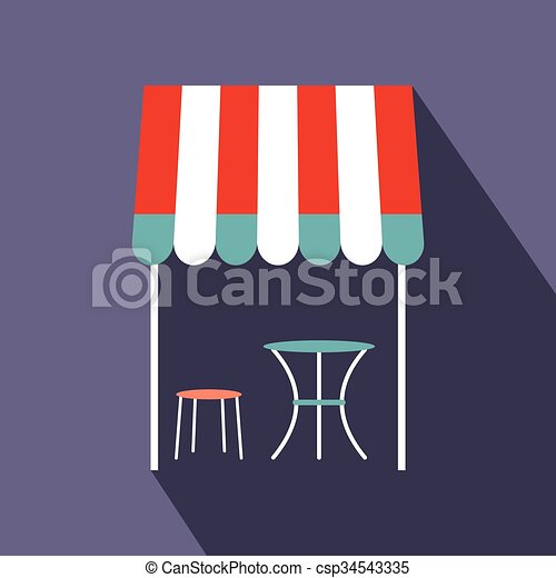 Street french cafe icon, flat style - csp34543335