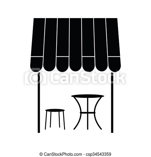 Street french cafe icon, simple style - csp34543359