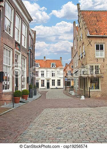 Street in the Dutch town of Heusden. Netherlands - csp19256574