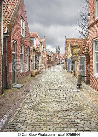Street in the Dutch town of Heusden. Netherlands - csp19256644