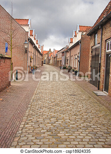 Street in the Dutch town of Heusden. Netherlands - csp18924335