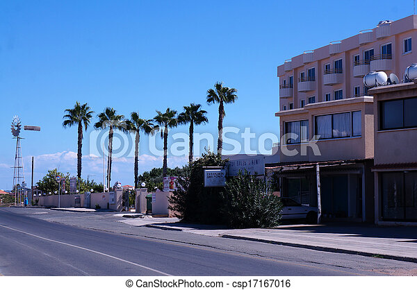 Street in the small seaside town of Cyprus - csp17167016