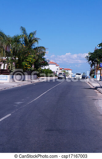 Street in the small seaside town of Cyprus - csp17167003