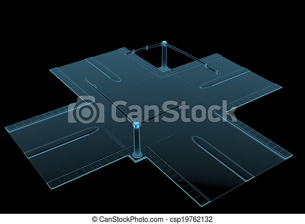 Street intersection x-ray blue transparent isolated on black - csp19762132