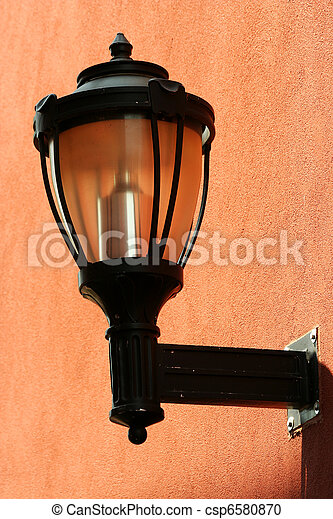 Street light on the side of a building - csp6580870