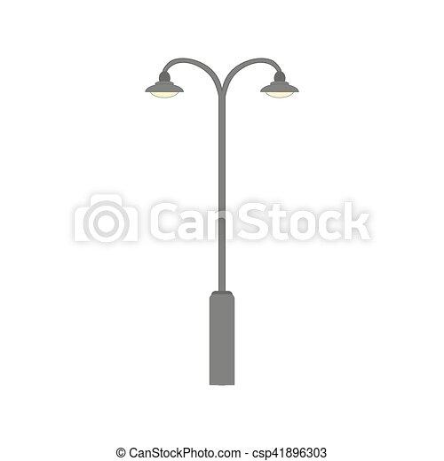 Street Light Silhouette Flat Road Lamp Symbol Icon Vector