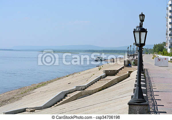 Street lights on the embankment of the River Lena - csp34706198