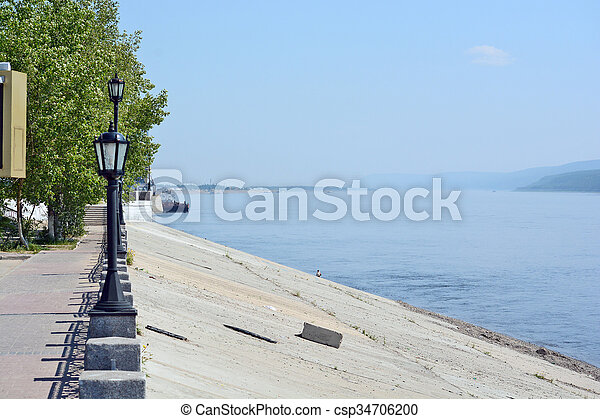 Street lights on the embankment of the River Lena - csp34706200