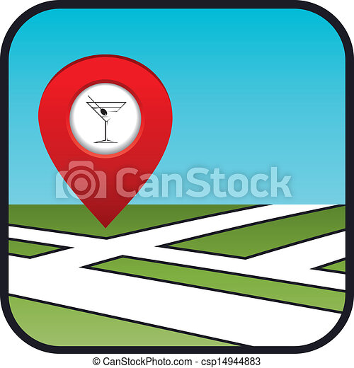 Street map icon with the pointer bar.  - csp14944883