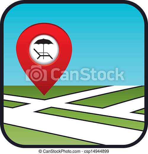 Street map icon with the pointer beach vacation.  - csp14944899