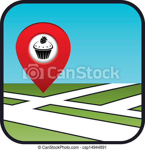Street map icon with the pointer confectionery.  - csp14944891