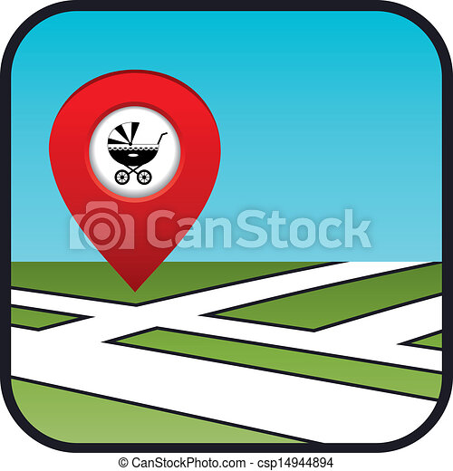 Street map icon with the pointer - csp14944894