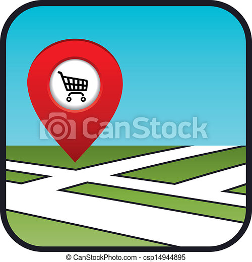 Street map icon with the pointer supermarket.   - csp14944895
