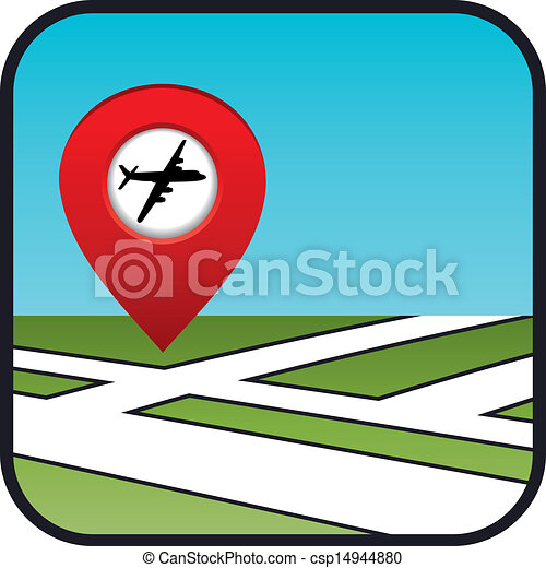 Street map icon with the pointer airport.   - csp14944880