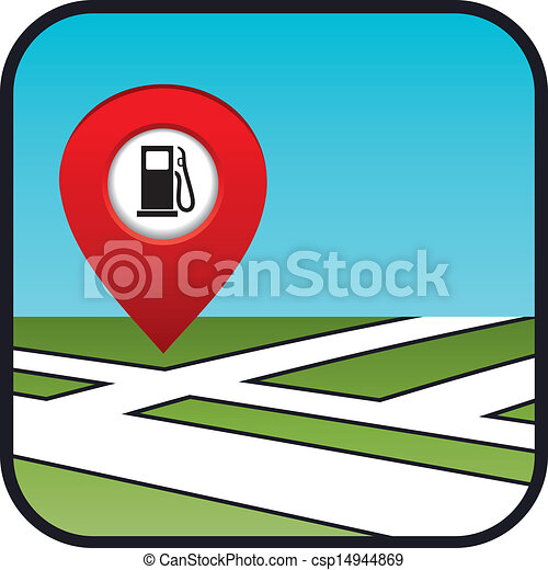 Street map icon with the pointer gas station.  - csp14944869