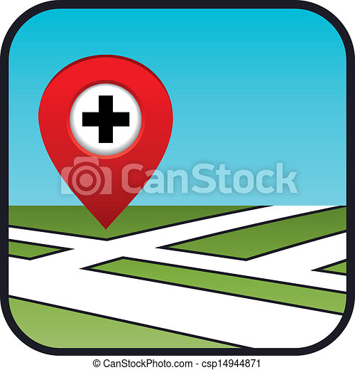 Street map icon with the pointer pharmacies, hospitals. - csp14944871