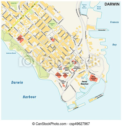 street map of the city of darwin northern territory australia csp49627967