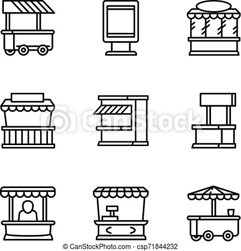 Street market scales icon outline style Royalty Free Vector