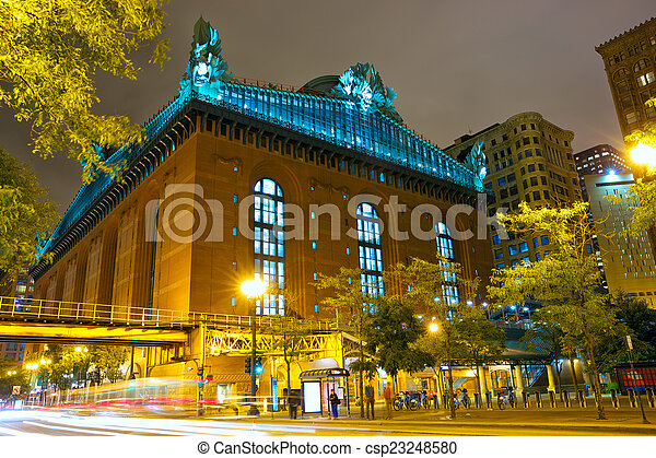 Street of Chicago at night - csp23248580