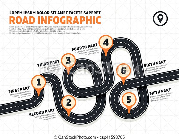 Street, road business marketing vector infographics template with pin signs - csp41593705
